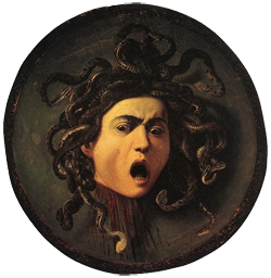 Greek Mythical Creatures Medusa Medusa painted on a wooden